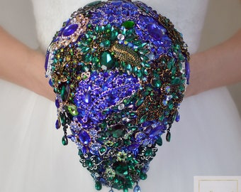 Blue Bouquet Brooch Bouquet Green Bouquet Wedding Bouquet Bridal Bouquet Crystal Bouquet Wedding Jewelry For Brides Bouquet Keepsake Bouquet