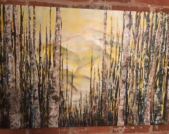Original 24x36in Acrylic Painting on Canvas: Through the Woods