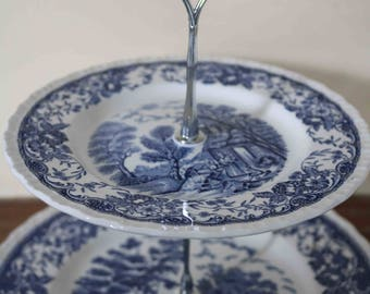 Staffordshire Royal Ware Olde England Cake Stand  Blue White Vintage China