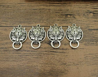 4 Wolf Head Charms,Antique Silver Tone-RS669