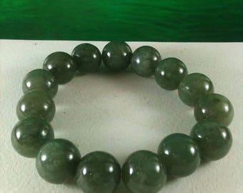 15 Green Jade Beads Bracelet Nature Jadeite Burma Jade Bracelet Free Size