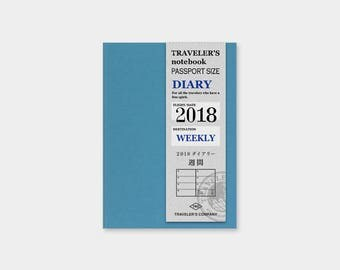 Traveler's Notebook 2018 Refill WEEKLY+MEMO Passport size 14388006 Traveler's Company TF Midori Designphil Made in Japan  Free shipping Rare