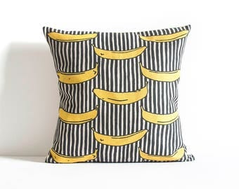 Cute Banana Stripe, Pillow Cover, Decorative Pillow Cover, Pillow Cushion Cover, Throw Pillow, Gift, Pillow Covers.