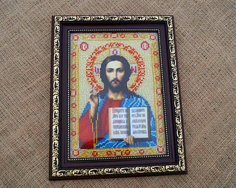 Jesus Christ Christian decoration Religious décor Christian icon Christian gift Beaded Embroidery orthodox Icon Orthodox decor Religious art