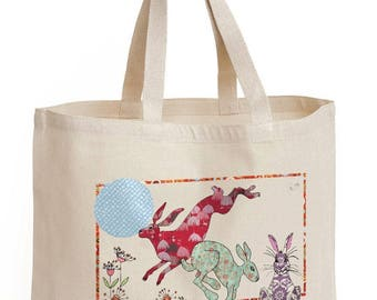 Shopping bag, Hare Design, Shopper, Tote, Strong cotton canvas bag in hare loving country style.