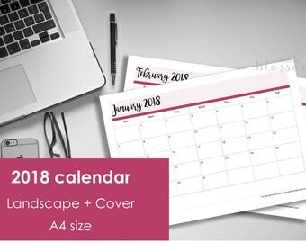 Printable 2018 Calendar. A4 Size. Instant download. PDF format. High resolution 300 dpi. Landscape 2018 calendar.