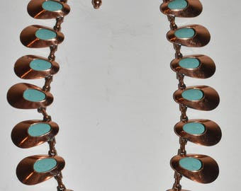 Vintage Matisse Copper and Turquoise Enamel Modern Necklace Mid Century