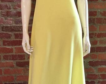 GOODBYE SUMMER SALE Vintage 70's Sunshine Yellow Empire Waist Maxi Dress with Sash by Allegreo; Ilgwu label, bust 32-34