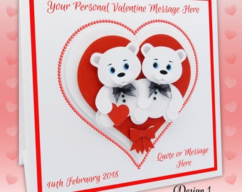 Valentine Card LGBT, 3D Gay Valentine Card Lesbian Valentine Card Same Sex Valentine Card Valentine Bears. Personalise with Names & Message
