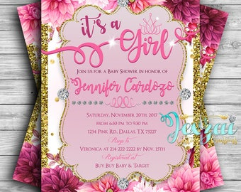 Floral Baby Shower Invitation | It's A Girl Baby Shower Invitation | Pink Invitation