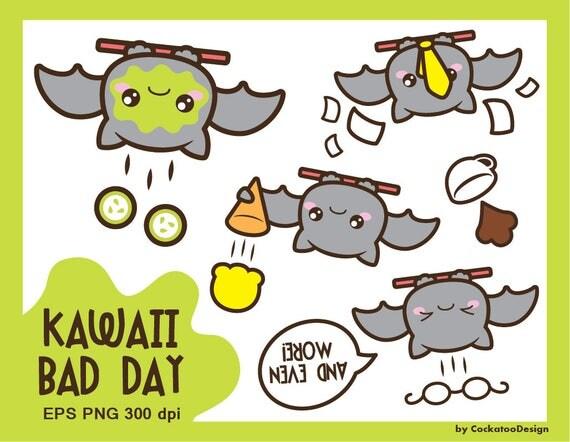 30% OFF Bat clipart kawaii clipart bat clip art bad day