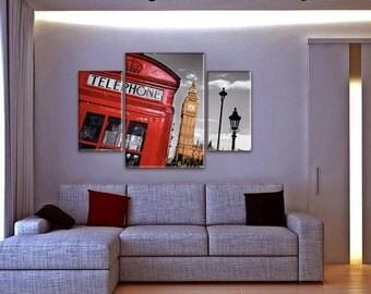 Large Wall Art, Urban Landscape, London Big Ben, 3 piece, Art Print on Canvas, Extra Large Art, Red Phone Box, Retro Photos, Living Room Art