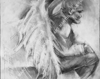 "Original Pencil Drawing.""Faded Angel"". Unique."
