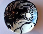 Wolf Swallowing the Sun bowl - illustrated pottery, mythology, handmade porcelain ceramic dish, hand built tableware, fenrir, eclipse