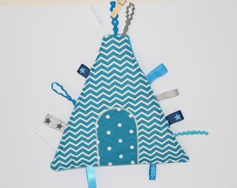 Blanket shape labels * TIPI *-tone turquoise blue and white