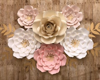 6 pc paper flower, nursery set, party decor