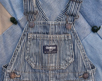 OSHKOSH B'GOSH Bib OVERALLS Size 9 Mos. Classic Vestback Denim Stripe | The Genuine Article