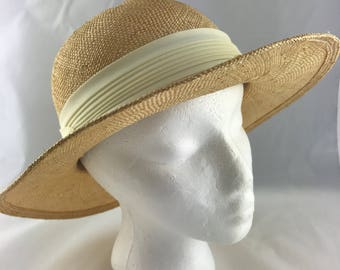 Vintage Sun Hat, Georgi Straw Hat, Georgi Sun Hat, Beach Hat, Wide Brim Hat, Gardening Hat, Garden Party Hat, Hat with Ribbon, Summer Hat