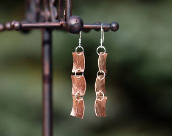 "Mature: Hand Stamped 'Curse Words' Earrings. These say ""F--k S--t D--n"". Copper and silver, stirling silver wires, handmade."