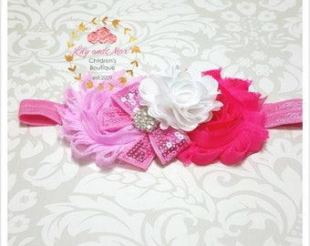 Pink headband, hot pink and pink tones shabby flower elastic headband, soft headband