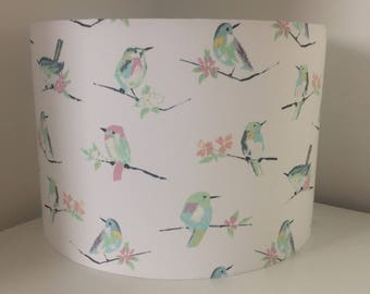 Hand made rolled-edge 'Pastel Birds' fabric lampshade