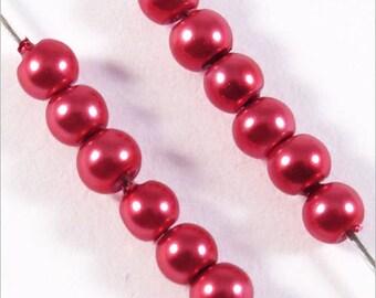 200 pearls 3mm raspberry red Czech glass