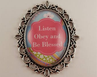 Listen Obey and Be Blessed JW Convention badge card holder with magnetic attachment, JW.org, JW gifts, Jw items, baptism gift