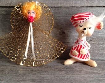 Set of 2 vintage 1970s ornaments | Vintage Christmas