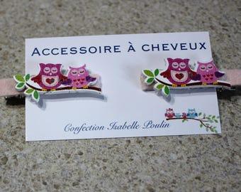 hair clip, hair, owls, Valentine accessory