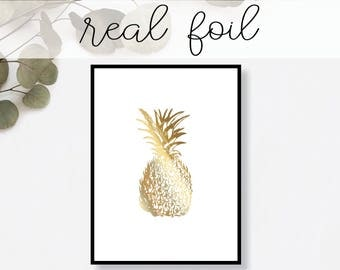 Pineapple Print // Real Gold Foil // Minimal // Foil Art // Home Decor // Modern Office // Typography // Fashion