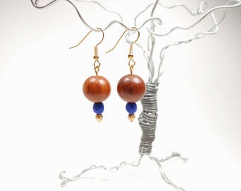 Bayong Wood, Matte Royal Blue Glass and Matte Gold Glass Bead Earrings