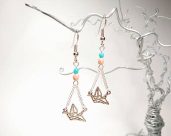 Silver Origami Crane Earrings - Pale pink and blue