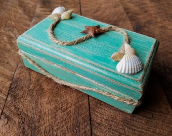 Trinket Box, jewelry box, distressed, beach, seashells, aqua, wood, gift, seashore,