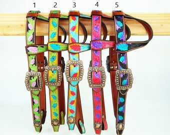 Handmade One Ear Belt Style Hand Tooled Leather Headstall Western Horse Trail Show Bridle