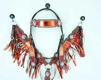 Western Barrel Trail Horse Metallic Red & Gator Headstall Leather Bridle Breast Collar Tack Set