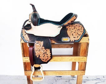 Handmade Western Trail Barrel Horse Turquoise Buck Stitched Floral Tooled leather Saddle