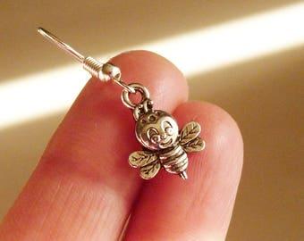 Bee Earrings, Bee Charm Earrings, 3D Bee Earrings, Hypoallergenic Earrings, Stainless Steel Earrings,  Fish Hook Earrings + Rubber Backs
