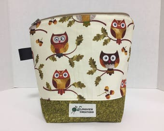 Wedge Bag,Knitting Project Bag, Sock Size, Fall Owls