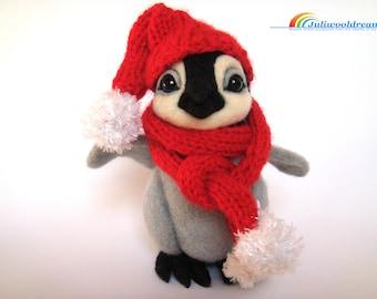 Needle felted Emperor penguin, Needle felted animal, needle felted Christmas, Christmas decorations, Christmas ornaments, Christmas gift