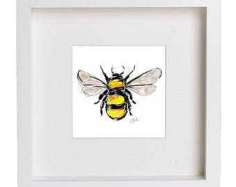 Bumble bee print // bumble bee drawing // framed print // nature print // insect art // bumble bee illustration // bee wall art // bee art