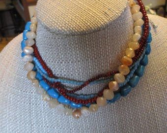 Vintage Multi-Strand Turquoise Red & Light Brown Beaded Choker Necklace