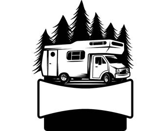 Camping Logo 6 Motorhome Camper Recreational Vehicle RV Camp Campsite Trailer Nature Vacation Banner