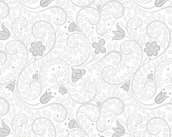 1 yard leaf Blender Light Grey cotton quilt fabric from Folk Art Fantasy from Amanda Murphy for Contempo Fabrics