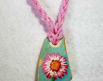 Scottish sea pottery pendant necklace.