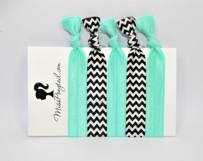 Chevron Hair Ties, Sea Foam Green, Black & White Hair Ties, Elastic Hair Ties, Handmade, Elastic Ribbon, Ponytail Holder, Knotted Hair Ties