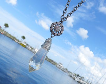 Silver Wire Wrapped Vintage Icicle Crystal Necklace // Vintage Chandelier Prism Necklace // Black Chain Necklace
