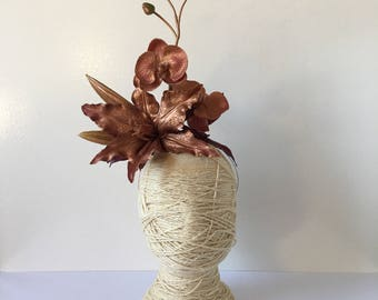Rose Gold Lily and Orchid with Burgundy leaves on a Rose Gold headband / Racewear headpiece / Fascinator / Statement