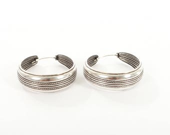 Sterling Silver Large Hooped Earrings With a Double Rope Design