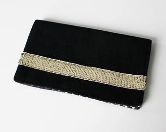 Door checkbook black and gold glitter band