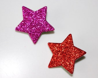 Set of 2 pin glitter stars